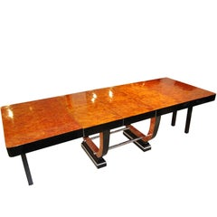 Expandable Art Deco Dining Table, Tuja-Root Veneer, France circa 1930