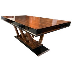 Expandable Art Deco Dining Table, Walnut and Black Lacquer, France, circa 1930