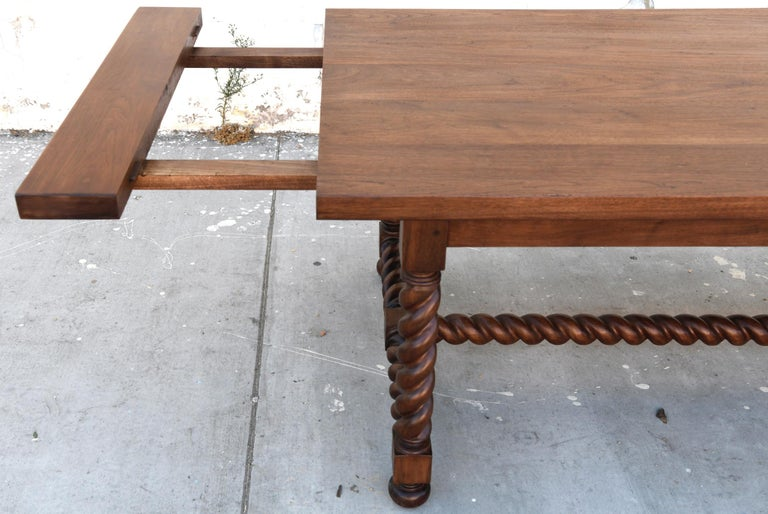 Expandable Barley Twist Dining Table Made from Walnut For Sale 3