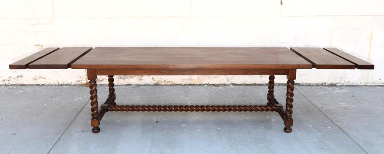 Expandable Barley Twist Dining Table Made from Walnut For Sale 4