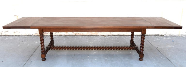 Expandable Barley Twist Dining Table Made from Walnut For Sale 5