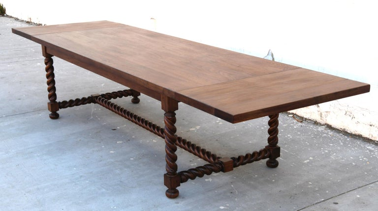 Expandable Barley Twist Dining Table Made from Walnut For Sale 6