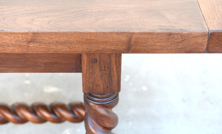 Expandable Barley Twist Dining Table Made from Walnut For Sale 2