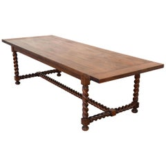 Expandable Barley Twist Dining Table Made from Walnut