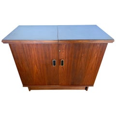 Expandable Danish Modern Dry Bar with Floating Expandable Top