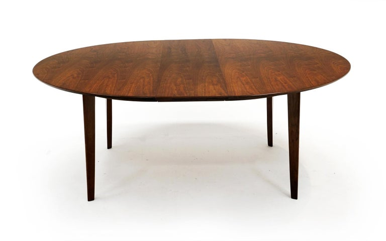 American Expandable Dining Table by Edward Wormley for Dunbar, Almost Round to Oval For Sale