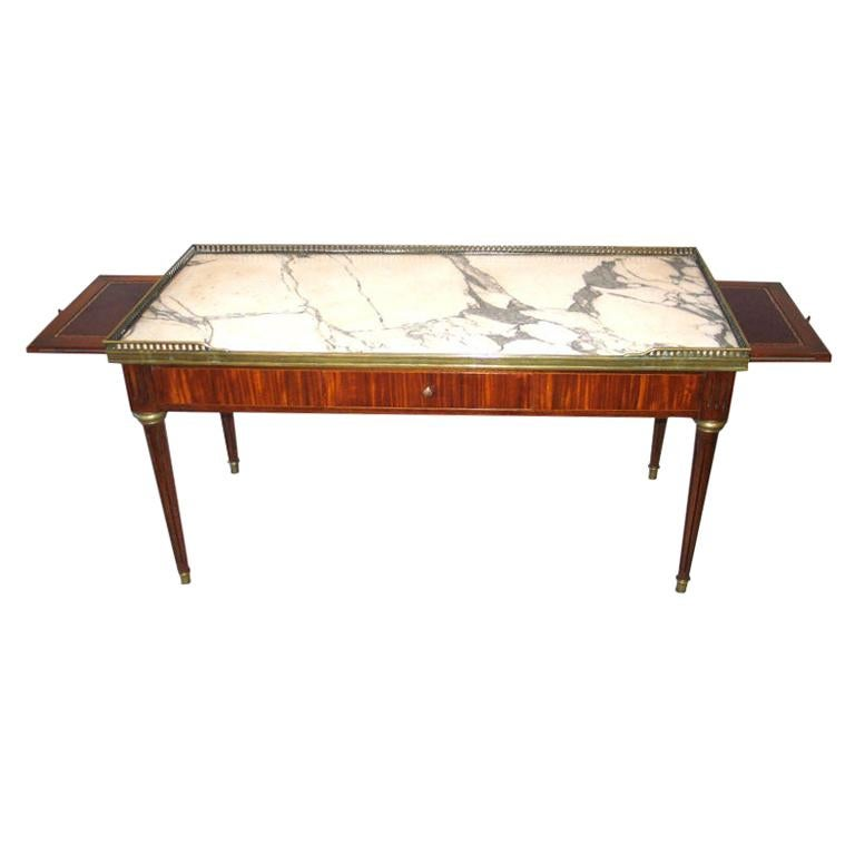 Expandable French Modern Neoclassical Wood, Marble Coffee Table by Maison Jansen For Sale
