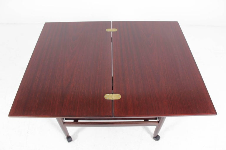 Expandable Mahogany Serving Cart by Børge Mogensen for Fredericia, Denmark For Sale 4