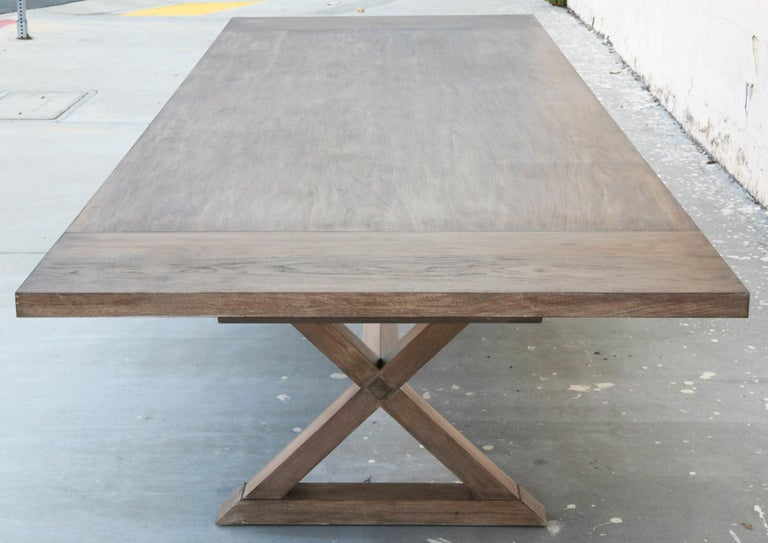 Expandable Minimalist X Trestle Table in Walnut For Sale 5