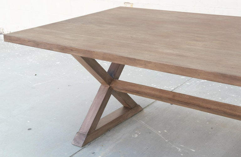 Expandable Minimalist X Trestle Table in Walnut For Sale 6