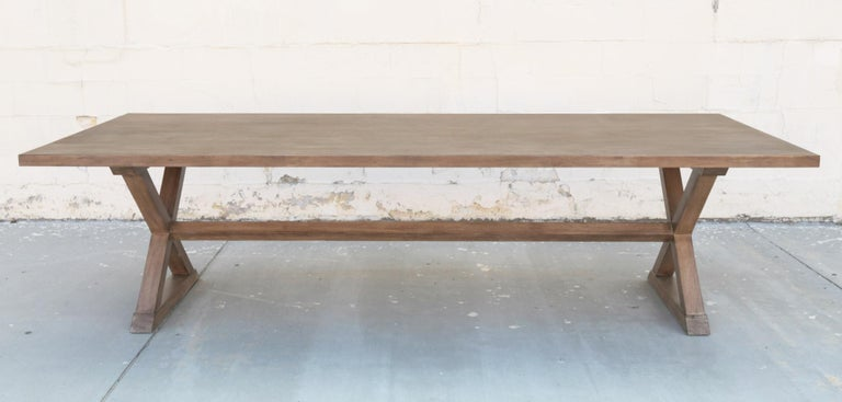 Mid-Century Modern Expandable Minimalist X Trestle Table in Walnut For Sale