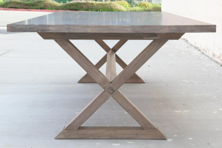 North American Expandable Minimalist X Trestle Table in Walnut For Sale