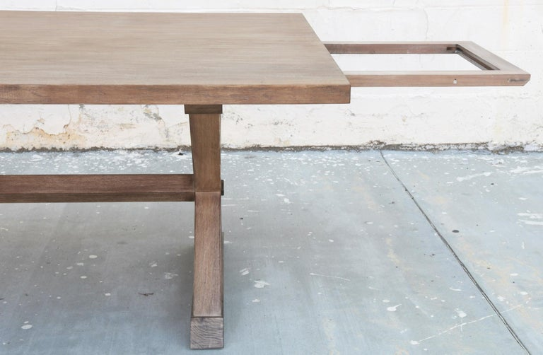 Hand-Crafted Expandable Minimalist X Trestle Table in Walnut For Sale
