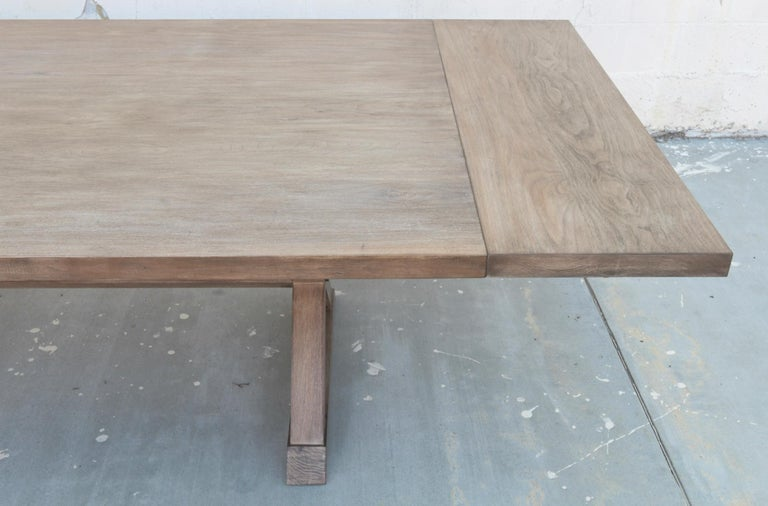 Expandable Minimalist X Trestle Table in Walnut In New Condition For Sale In Los Angeles, CA