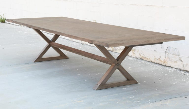 Contemporary Expandable Minimalist X Trestle Table in Walnut For Sale