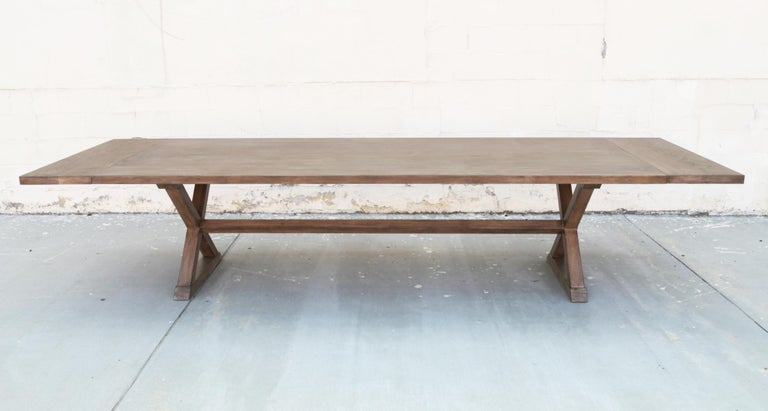Expandable Minimalist X Trestle Table in Walnut For Sale 1