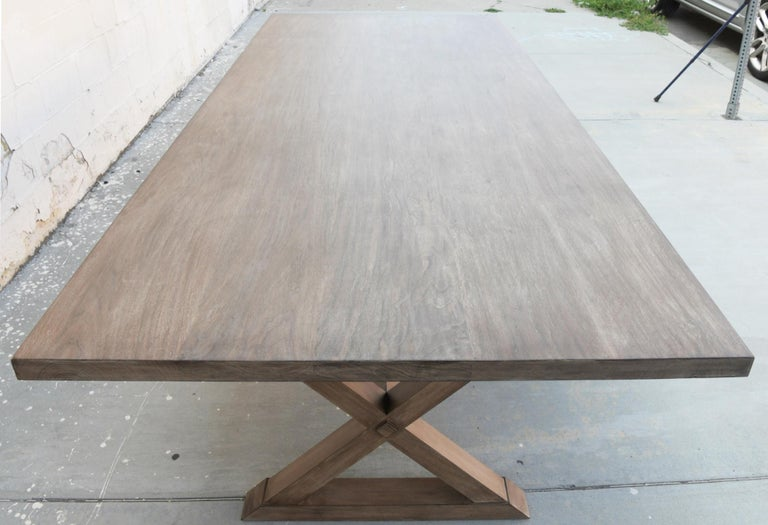 Expandable Minimalist X Trestle Table in Walnut For Sale 2