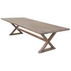 Expandable Minimalist X Trestle Table in Walnut