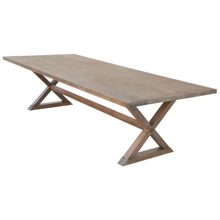 Expandable Minimalist X Trestle Table in Walnut For Sale