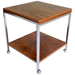 Expandable Rosewood and Chrome Serving Table, 1970s