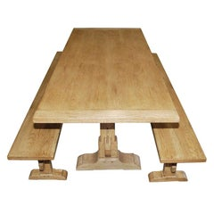 Expandable Trestle Table and Benches Made from Oak