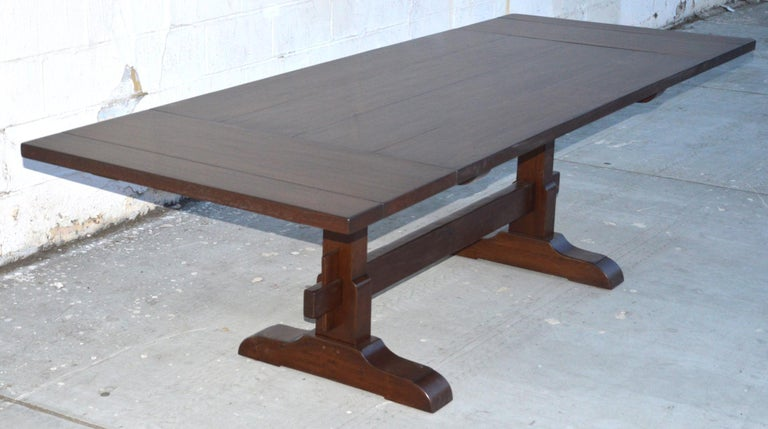 Expandable Walnut Trestle Table, Built to Order by Petersen Antiques  For Sale 4