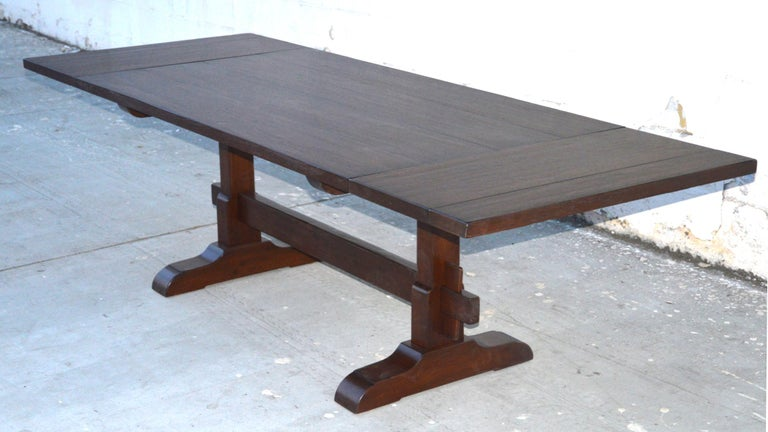 Expandable Walnut Trestle Table, Built to Order by Petersen Antiques  For Sale 5