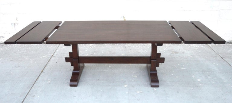 North American Expandable Walnut Trestle Table, Built to Order by Petersen Antiques  For Sale