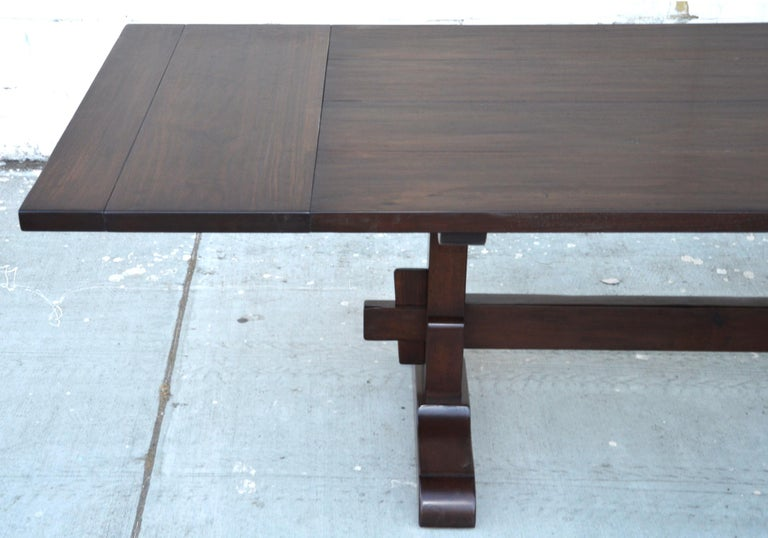 Hand-Crafted Expandable Walnut Trestle Table, Built to Order by Petersen Antiques  For Sale