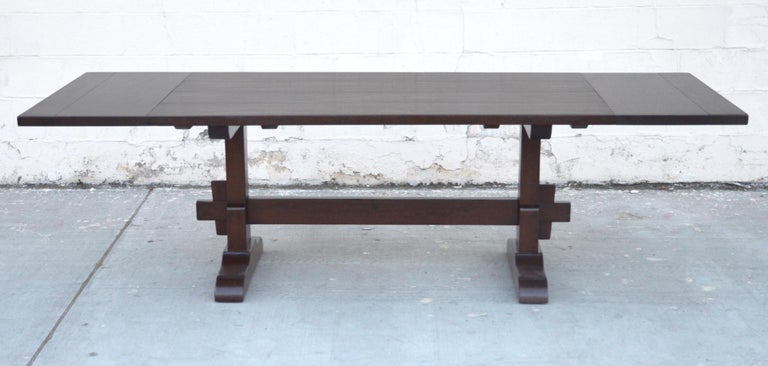 Expandable Walnut Trestle Table, Built to Order by Petersen Antiques  In New Condition For Sale In Los Angeles, CA