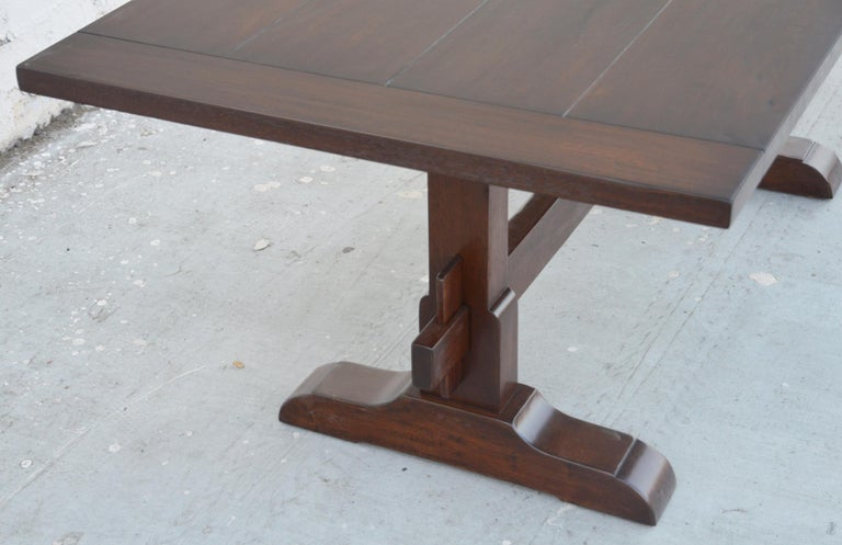 Contemporary Expandable Walnut Trestle Table, Built to Order by Petersen Antiques  For Sale
