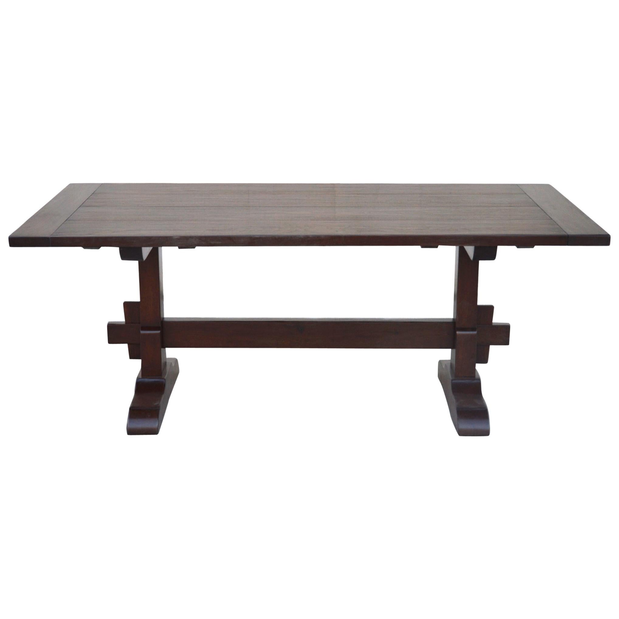 Expandable Walnut Trestle Table, Built to Order by Petersen Antiques