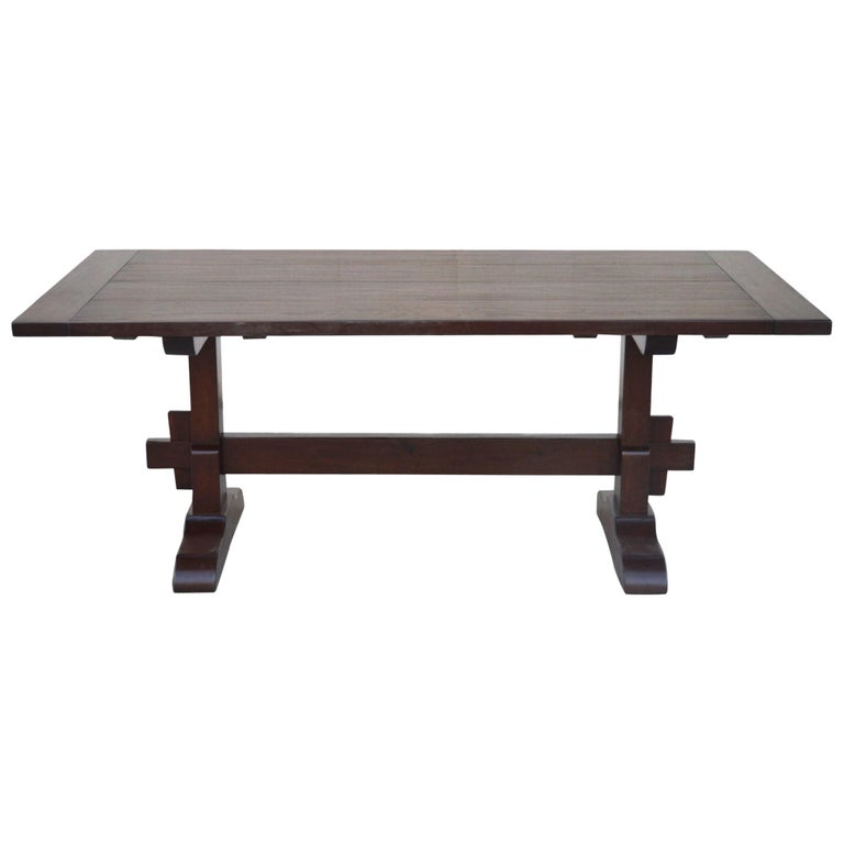 Expandable Walnut Trestle Table, Built to Order by Petersen Antiques  For Sale