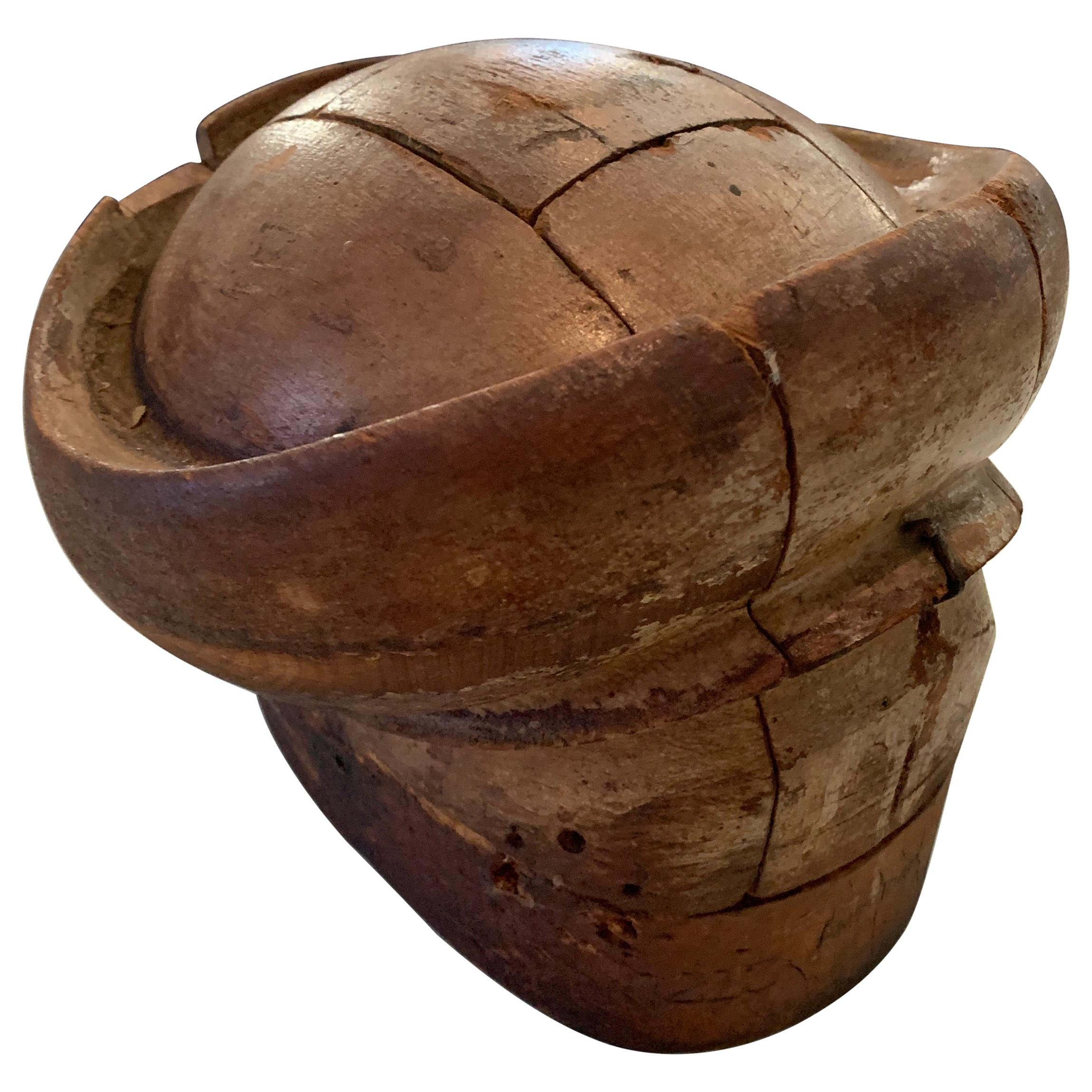 Early 20th Century Adjustable French Wooden Milliner Hat Form