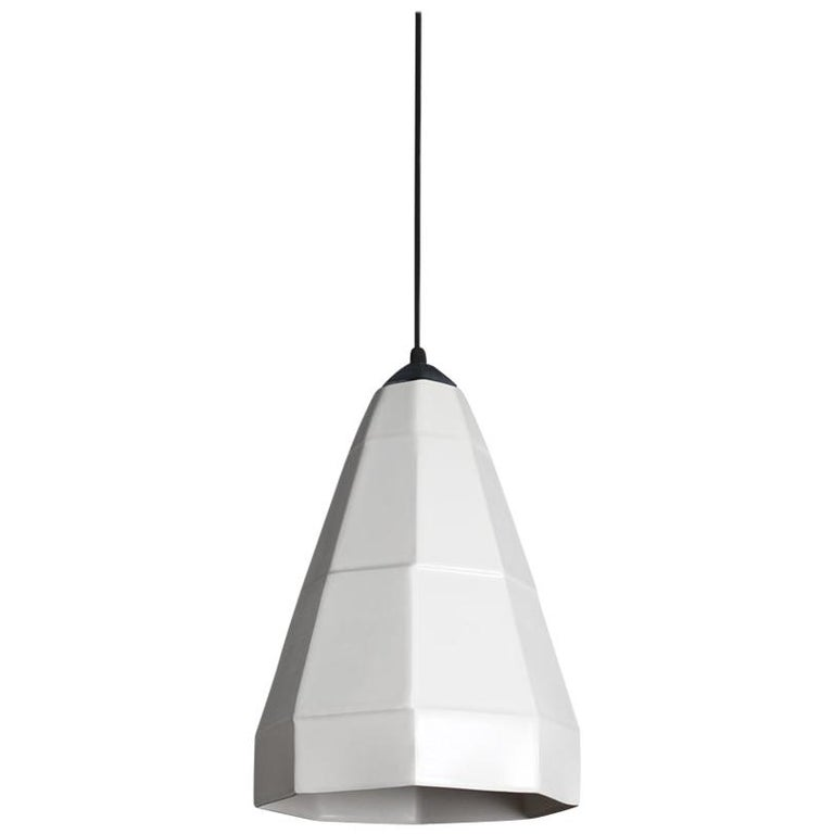 Expansion 1 Contemporary Hanging Pendant Light White Translucent Porcelain For Sale