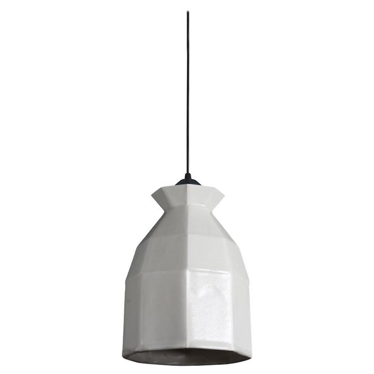 Expansion 2 Contemporary Hanging Pendant Light White Translucent Porcelain For Sale