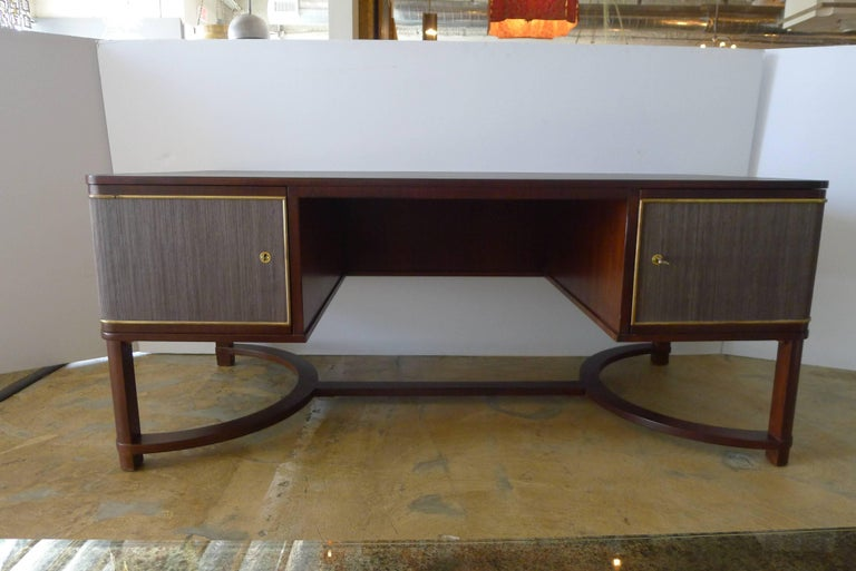 Expansive French Modern Art Deco Executive Desk In Excellent Condition For Sale In Los Angeles, CA