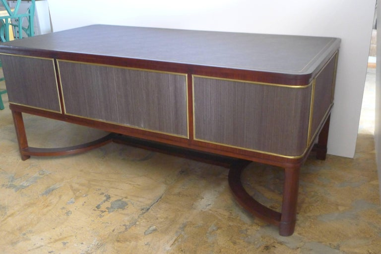 Mid-20th Century Expansive French Modern Art Deco Executive Desk For Sale