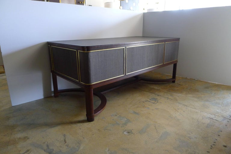 Brass Expansive French Modern Art Deco Executive Desk For Sale