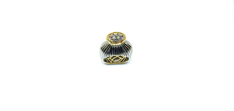 Women's Experience Thin Air Zone with Brown Diamond Yellow Gold Fashion Ring For Sale