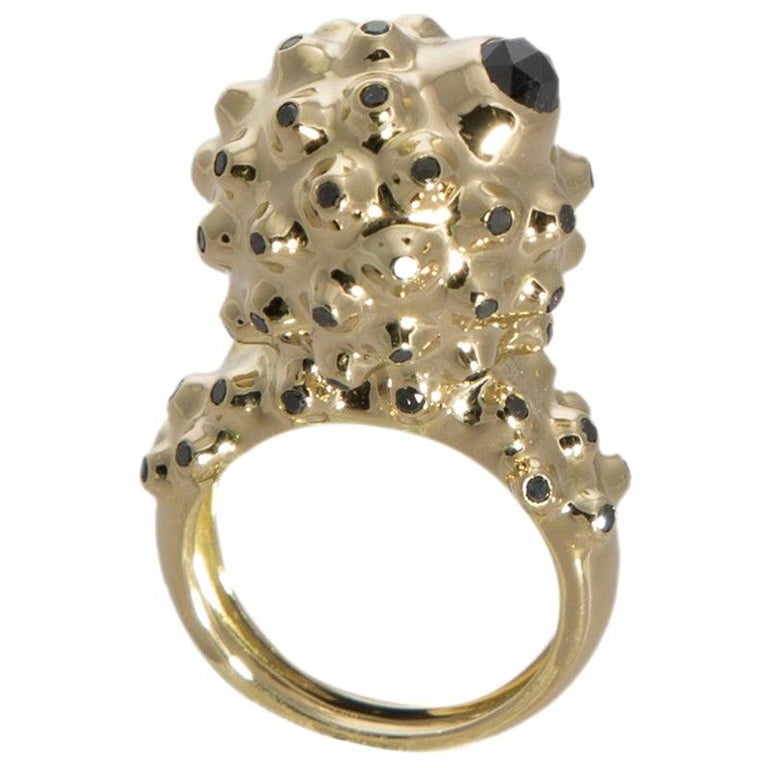 Experience Thin Air Zone with One of a Kind Black Diamond Gold Dome Ring For Sale