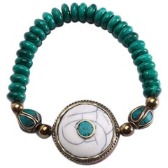 Explorer Malachite and Gold Filled Nepalese Accents Bracelet