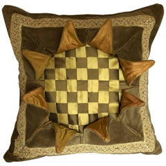 """Explosion"" Pillow, Beige, Gold and Tan Throw Pillow"