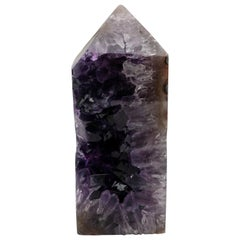 Exposed Core Amethyst and Agate Mineral Obelisk