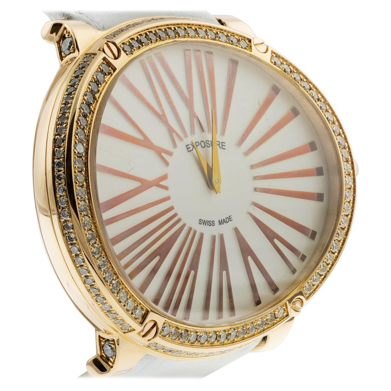 Exposure Swiss-Made 18K Gold Diamonds Big Oval Strap Quartz Watch, Vintage For Sale