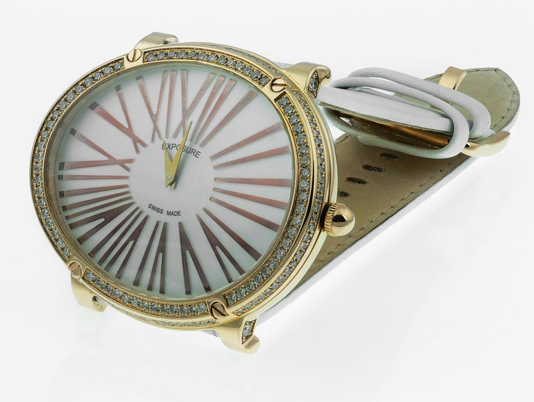 Modern Exposure Swiss-Made 18K Gold Diamonds Big Oval Strap Quartz Watch, Vintage For Sale
