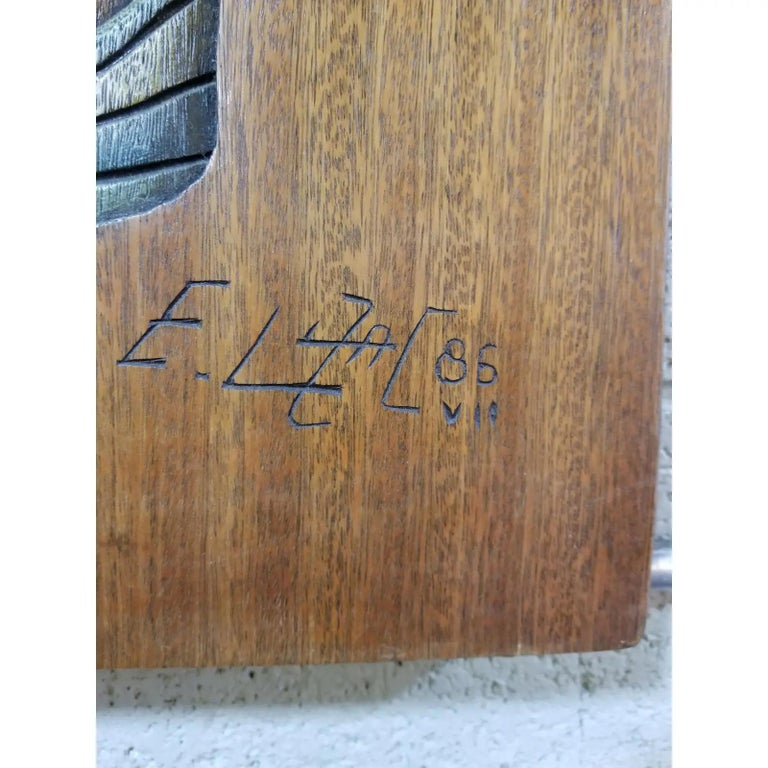 Brazilian Edison Lufaac Figurative Carved Wood Wall Art / Sculpture  For Sale