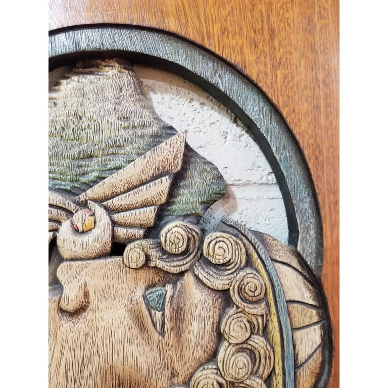 Hand-Carved Edison Lufaac Figurative Carved Wood Wall Art / Sculpture  For Sale