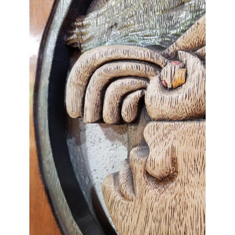 Edison Lufaac Figurative Carved Wood Wall Art / Sculpture  In Good Condition For Sale In Fulton, CA