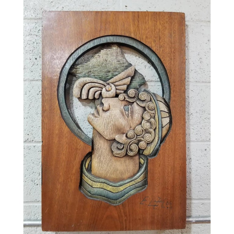 Edison Lufaac Figurative Carved Wood Wall Art / Sculpture  For Sale 1
